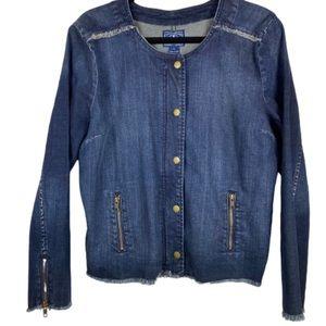 Lucky Brand Denim Jacket Frayed Hem Cuffs Blue XL